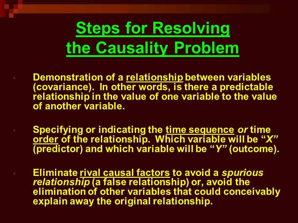 Steps for Resolving the Causality Problem
