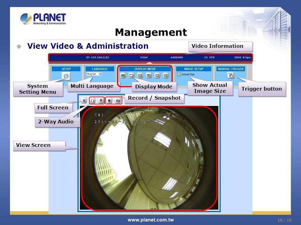 Management View Video & Administration Video Information Display Mode