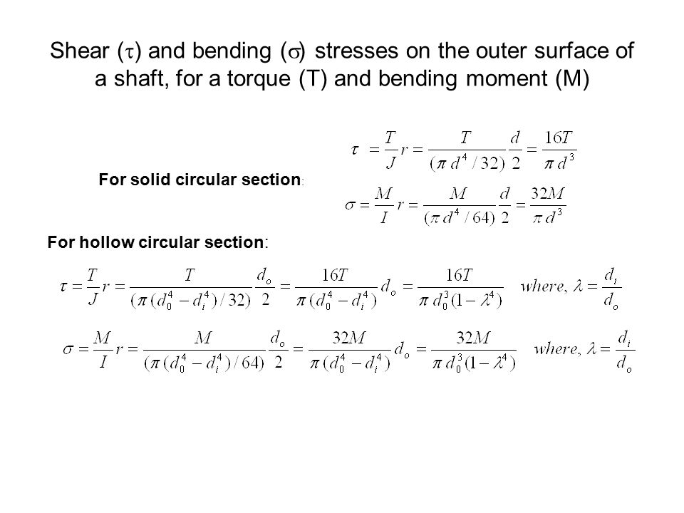 Shear (t) and bending (s) stresses on the outer surface of a shaft, for a torque (T) and bending moment (M)
