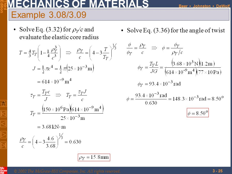 Example 3.08/3.09 SOLUTION: Solve Eq. (3.32) for rY/c and evaluate the elastic core radius.
