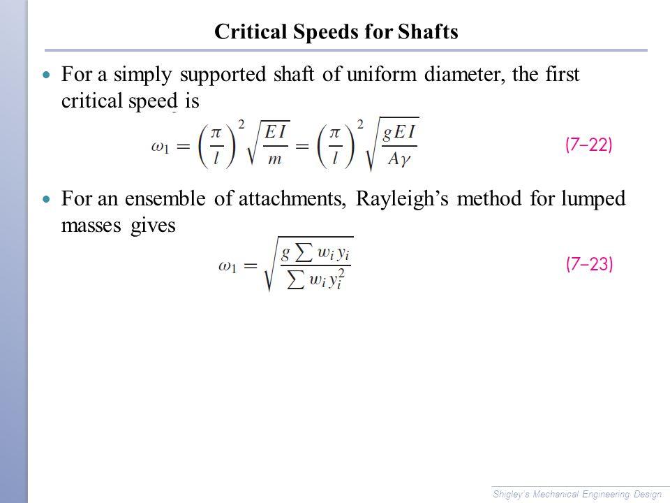 Critical Speeds for Shafts
