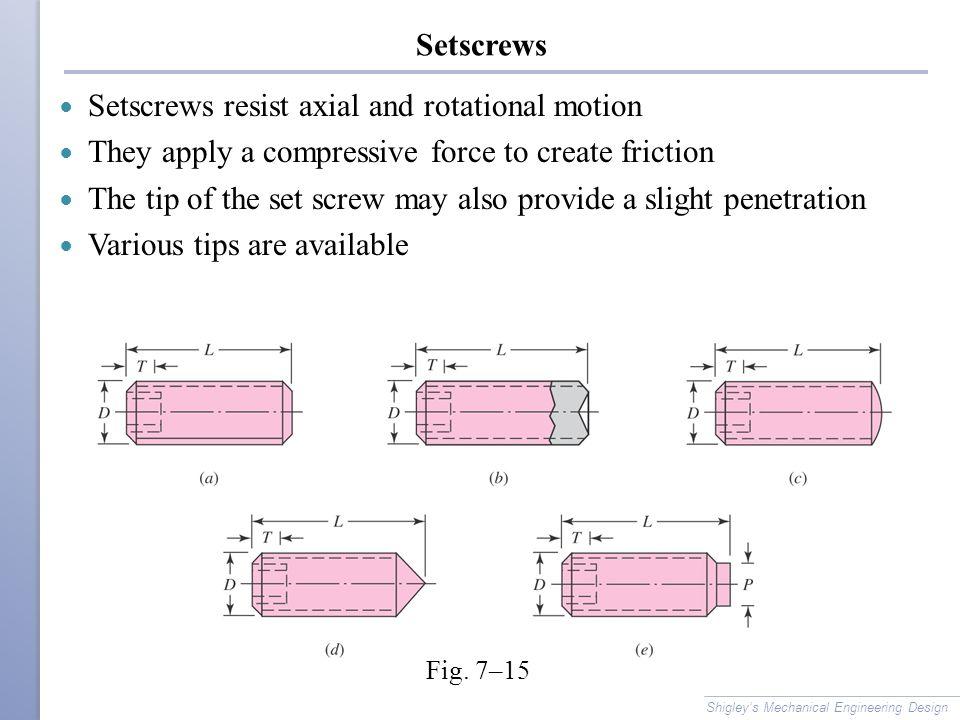 Setscrews resist axial and rotational motion