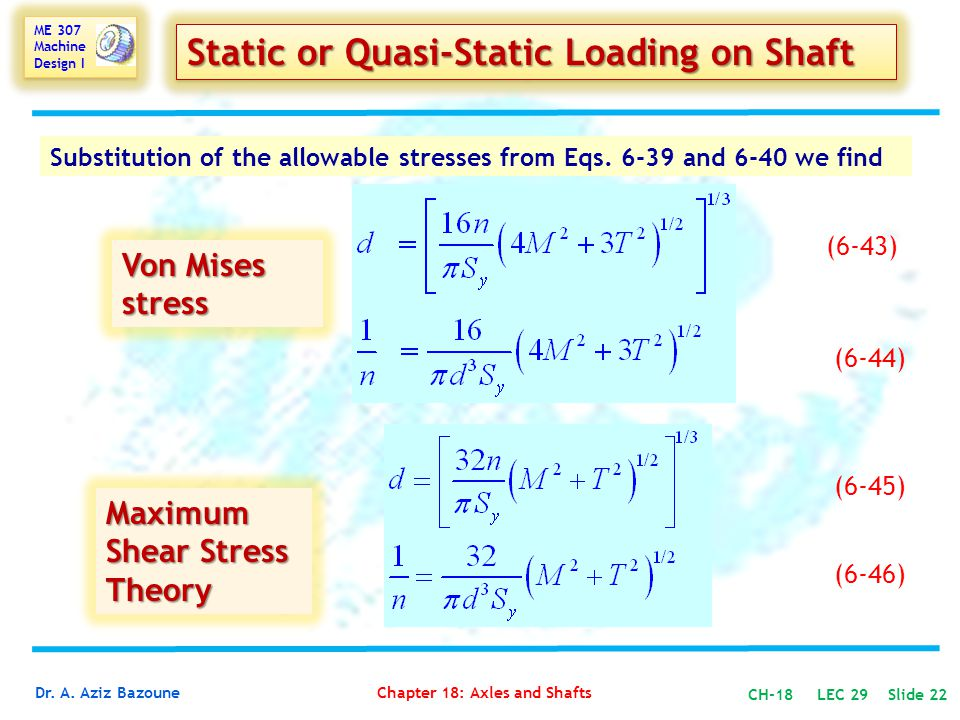 Static or Quasi-Static Loading on Shaft
