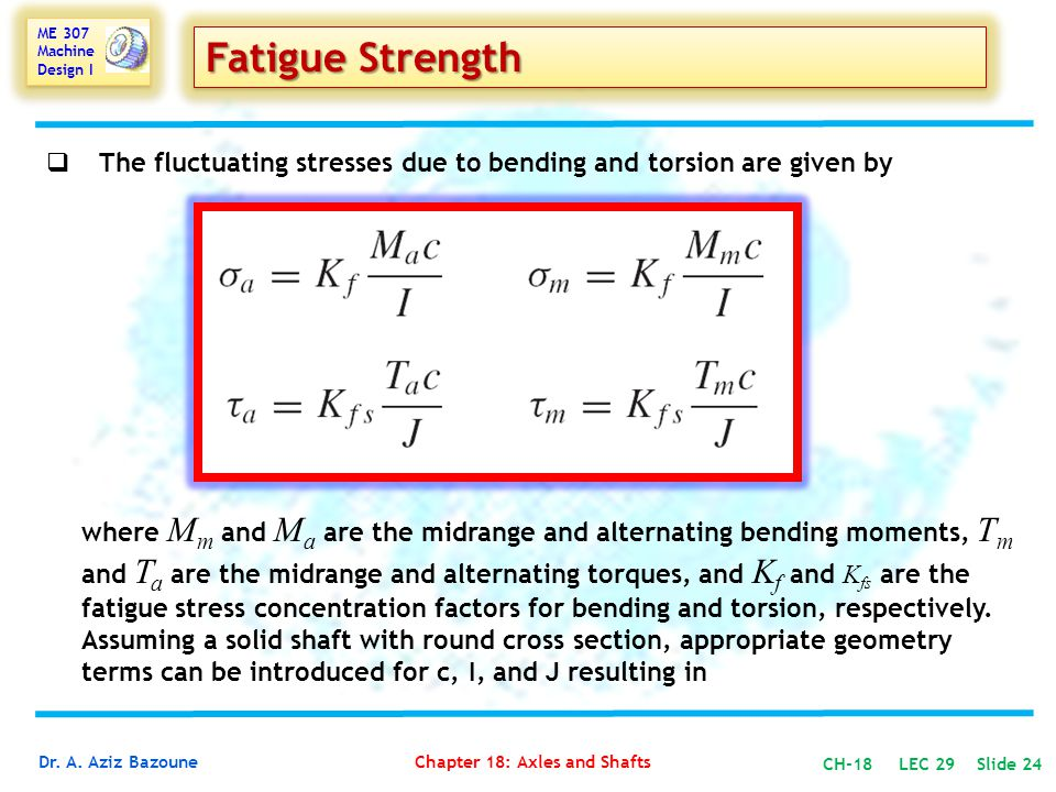 Fatigue Strength The fluctuating stresses due to bending and torsion are given by.