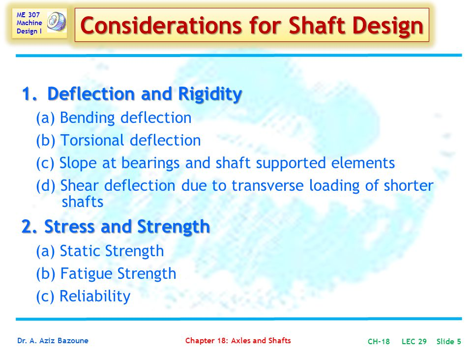 Considerations for Shaft Design
