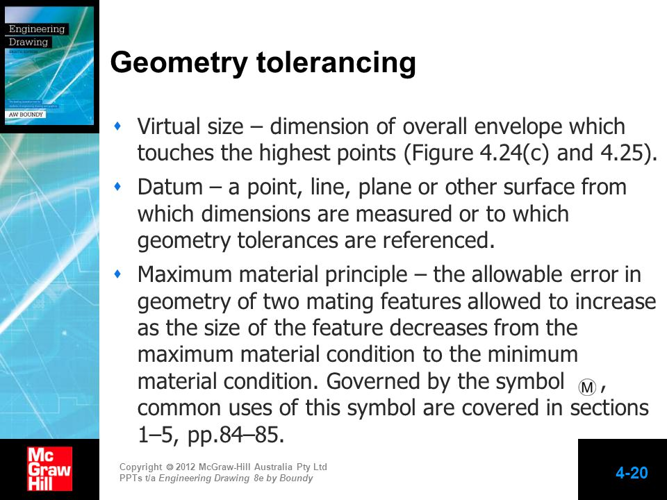 Geometry tolerancing Virtual size – dimension of overall envelope which touches the highest points (Figure 4.24(c) and 4.25).