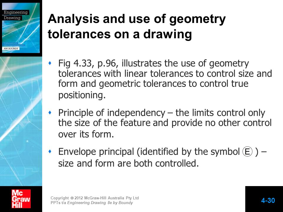 Analysis and use of geometry tolerances on a drawing