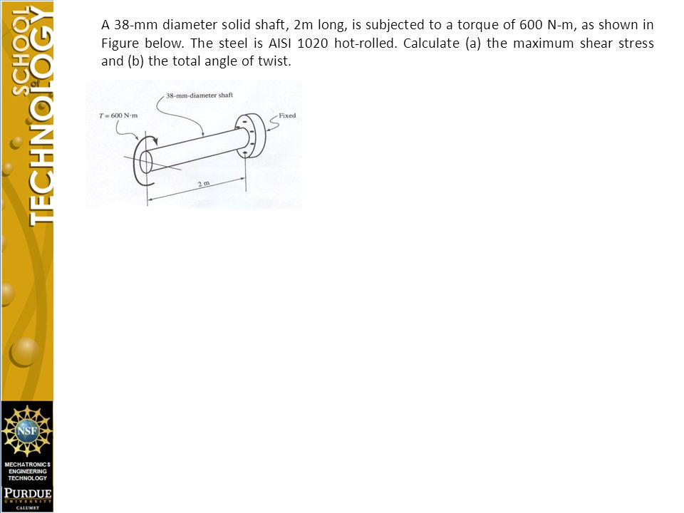 A 38-mm diameter solid shaft, 2m long, is subjected to a torque of 600 N-m, as shown in Figure below.