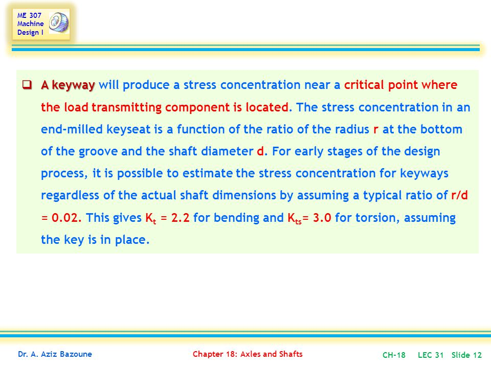 A keyway will produce a stress concentration near a critical point where the load transmitting component is located.