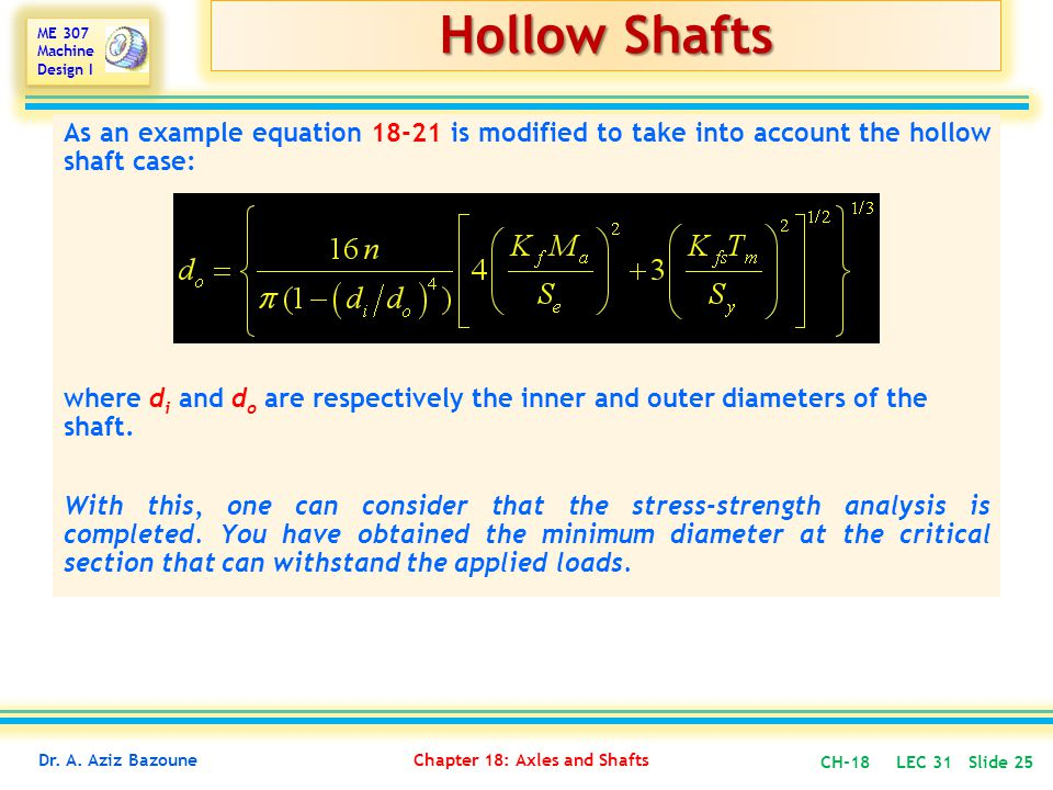 Hollow Shafts As an example equation 18-21 is modified to take into account the hollow shaft case: