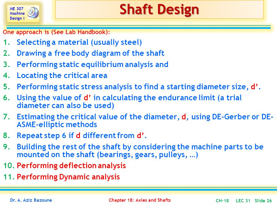 Shaft Design Selecting a material (usually steel)