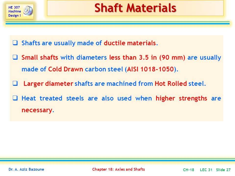 Shaft Materials Shafts are usually made of ductile materials.