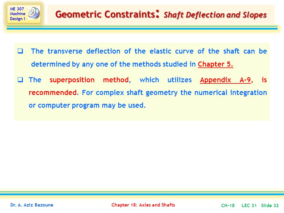Geometric Constraints: Shaft Deflection and Slopes