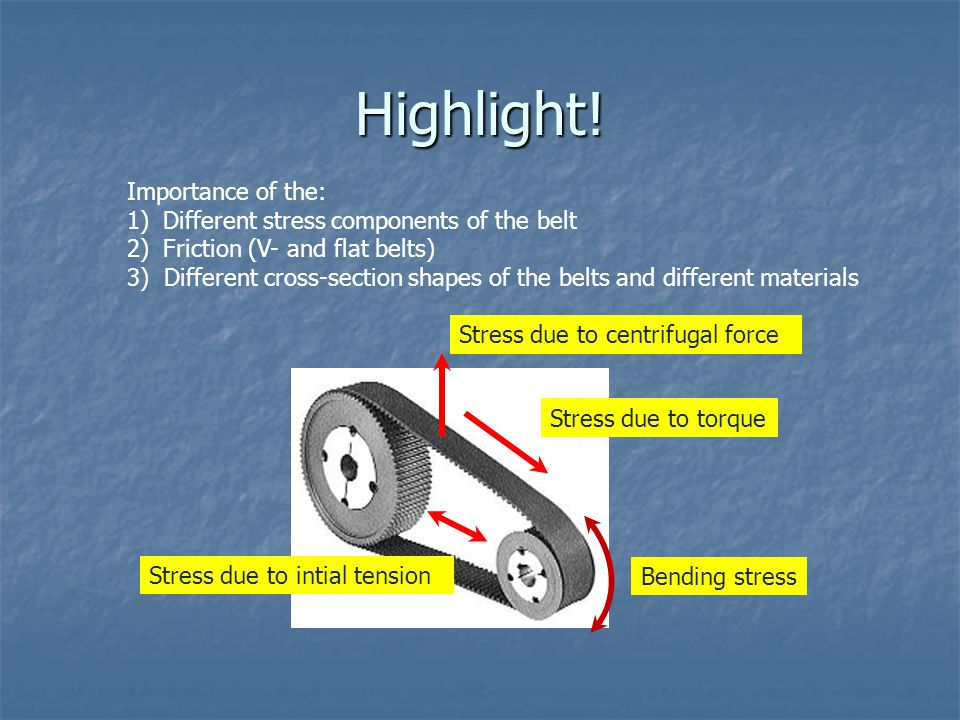 Highlight! Importance of the: Different stress components of the belt
