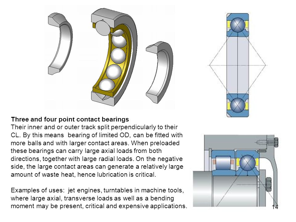 Three and four point contact bearings