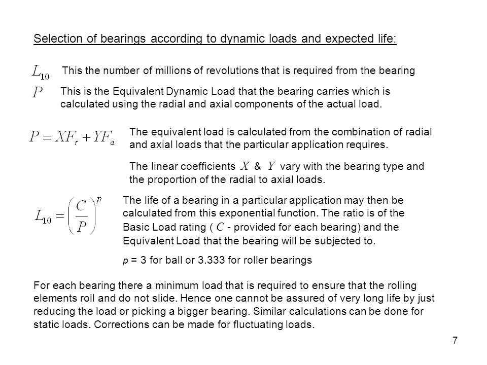 Selection of bearings according to dynamic loads and expected life: