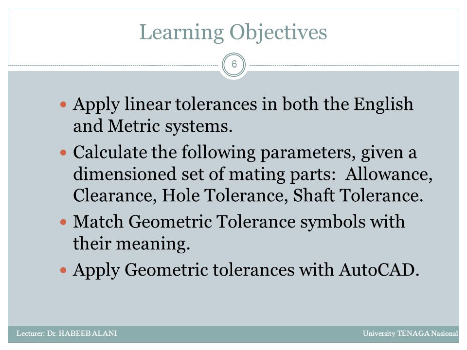 application of learning objectives week 6 Providing feedback specific to learning objectives helps students improve their   the use of metacognitive feedback versus results feedback in a 6th grade  for  example, a teacher might post weekly objectives on his or her class blog or wiki.