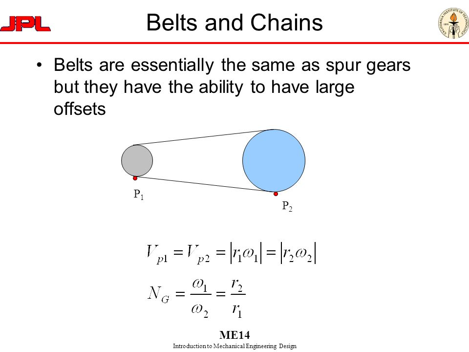 Belts and Chains Belts are essentially the same as spur gears but they have the ability to have large offsets.
