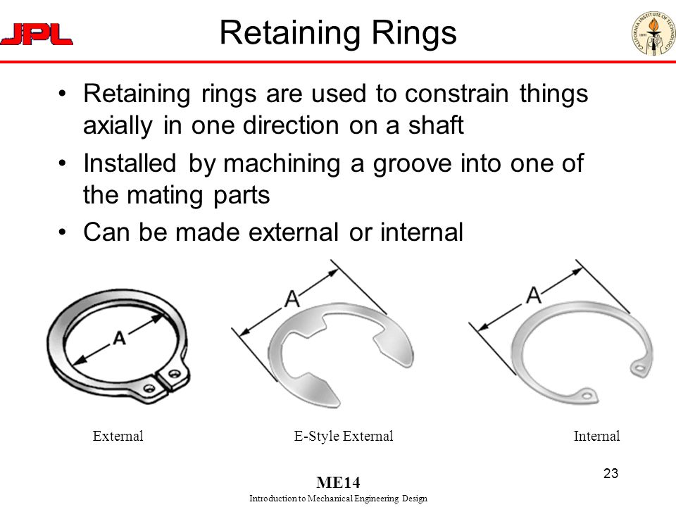 Retaining Rings Retaining rings are used to constrain things axially in one direction on a shaft.