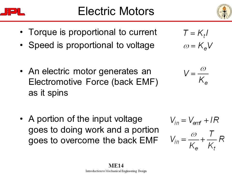 Electric Motors Torque is proportional to current