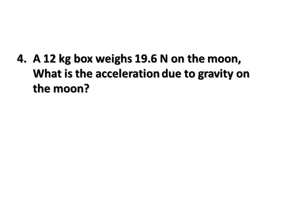 how to find acceleration due to gravity on the moon