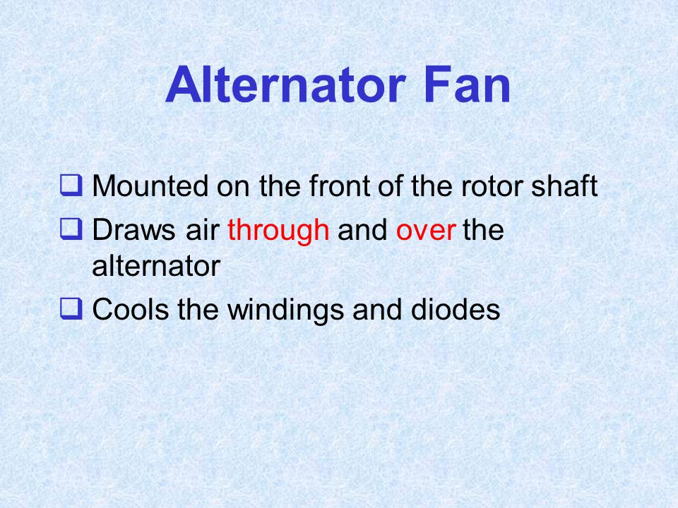 Alternator Fan Mounted on the front of the rotor shaft