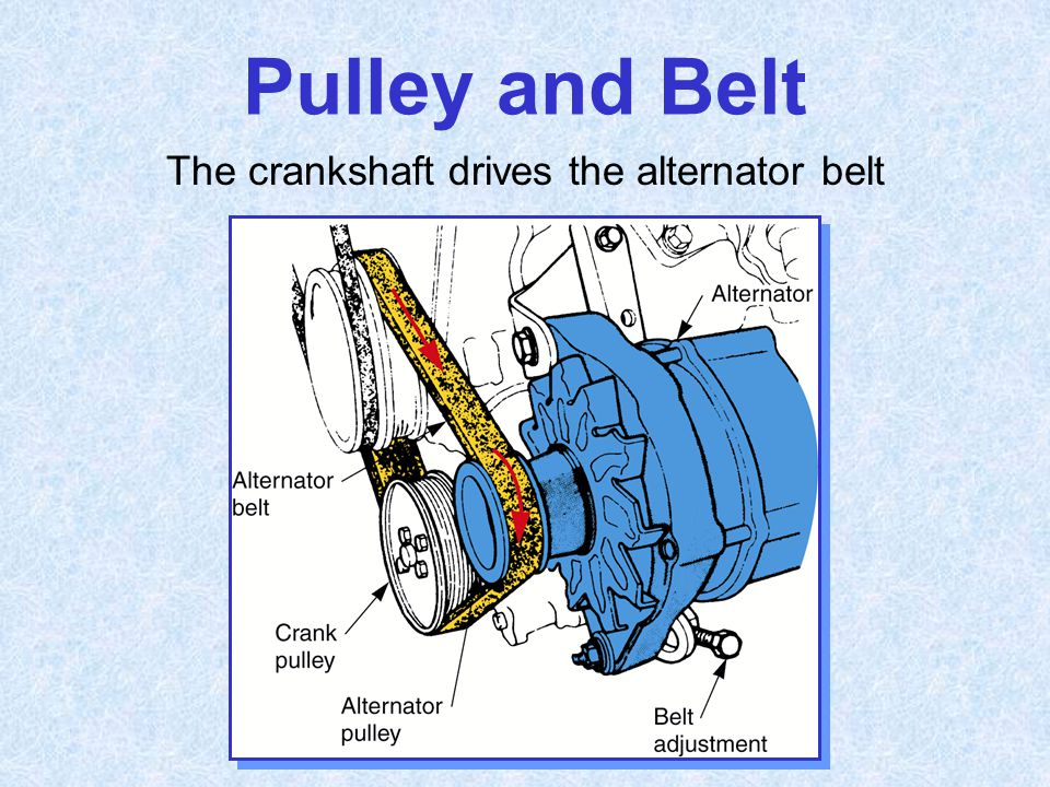The crankshaft drives the alternator belt
