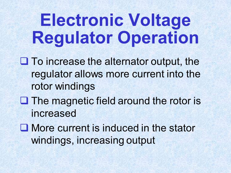 Electronic Voltage Regulator Operation