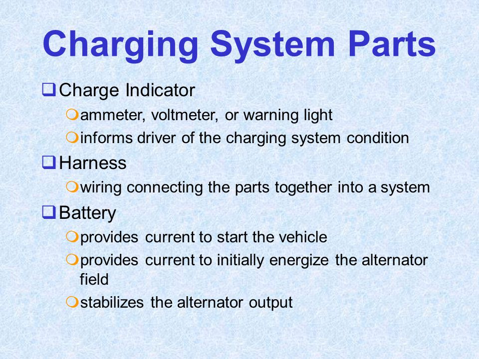 Charging System Parts Charge Indicator Harness Battery