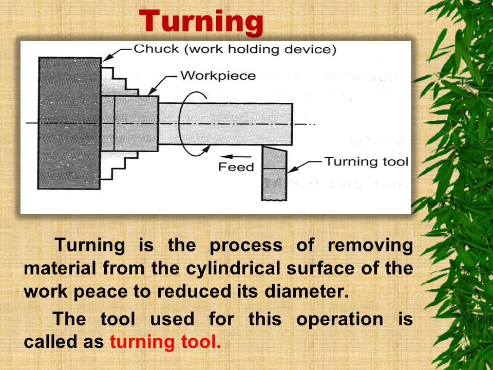 Turning The tool used for this operation is called as turning tool.
