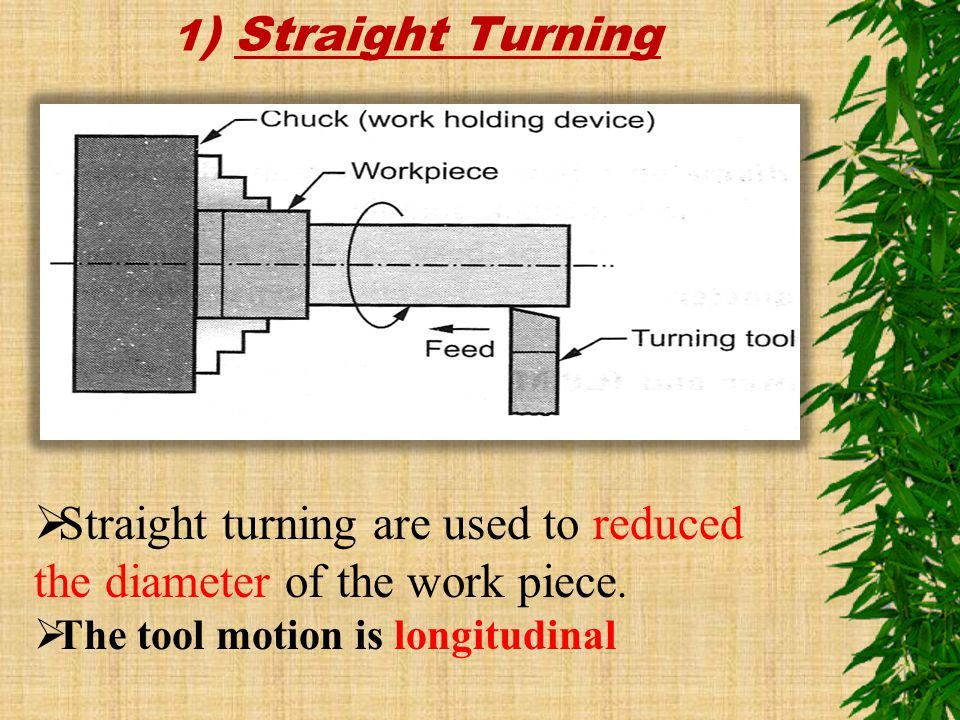 Straight turning are used to reduced the diameter of the work piece.