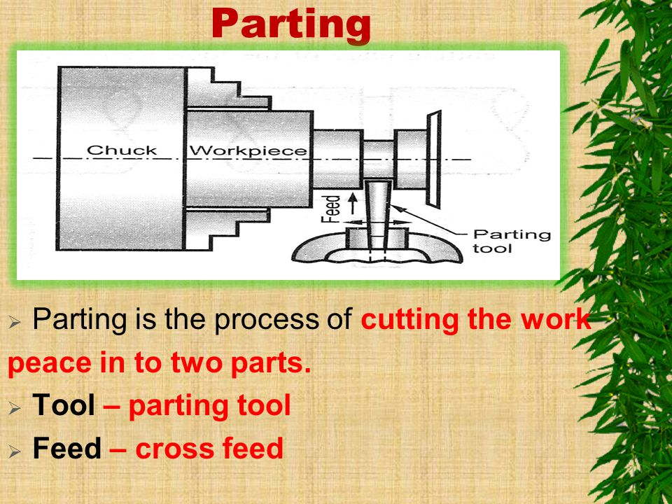 Parting Parting is the process of cutting the work