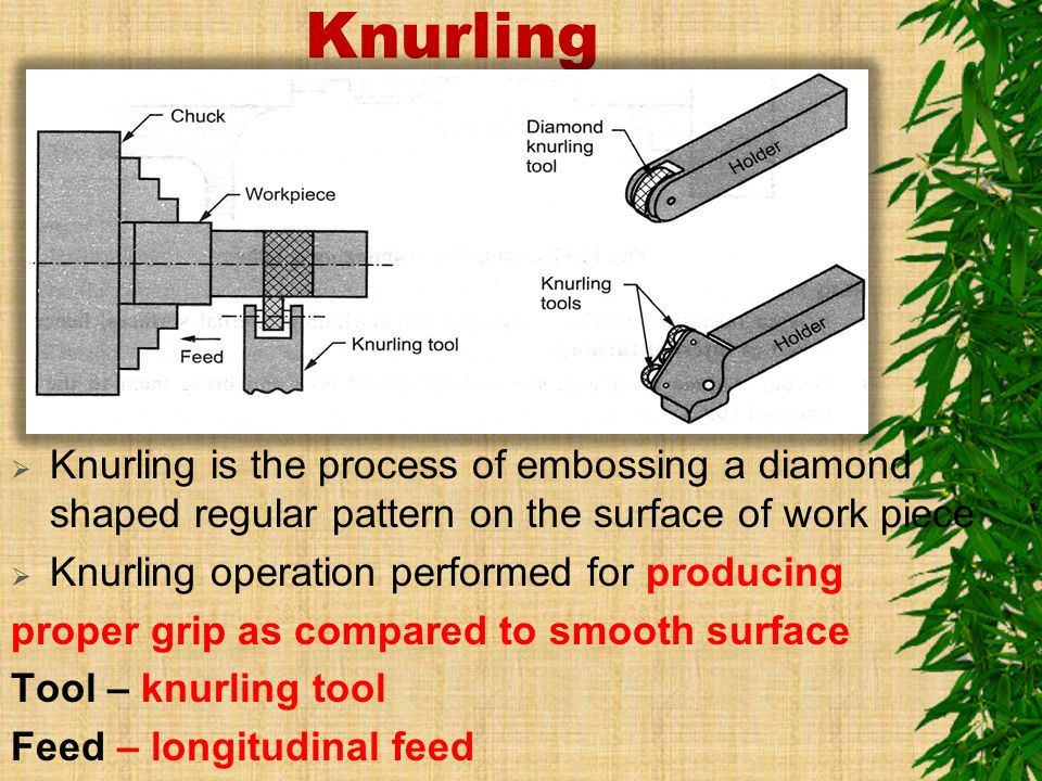 Knurling Knurling is the process of embossing a diamond shaped regular pattern on the surface of work piece.
