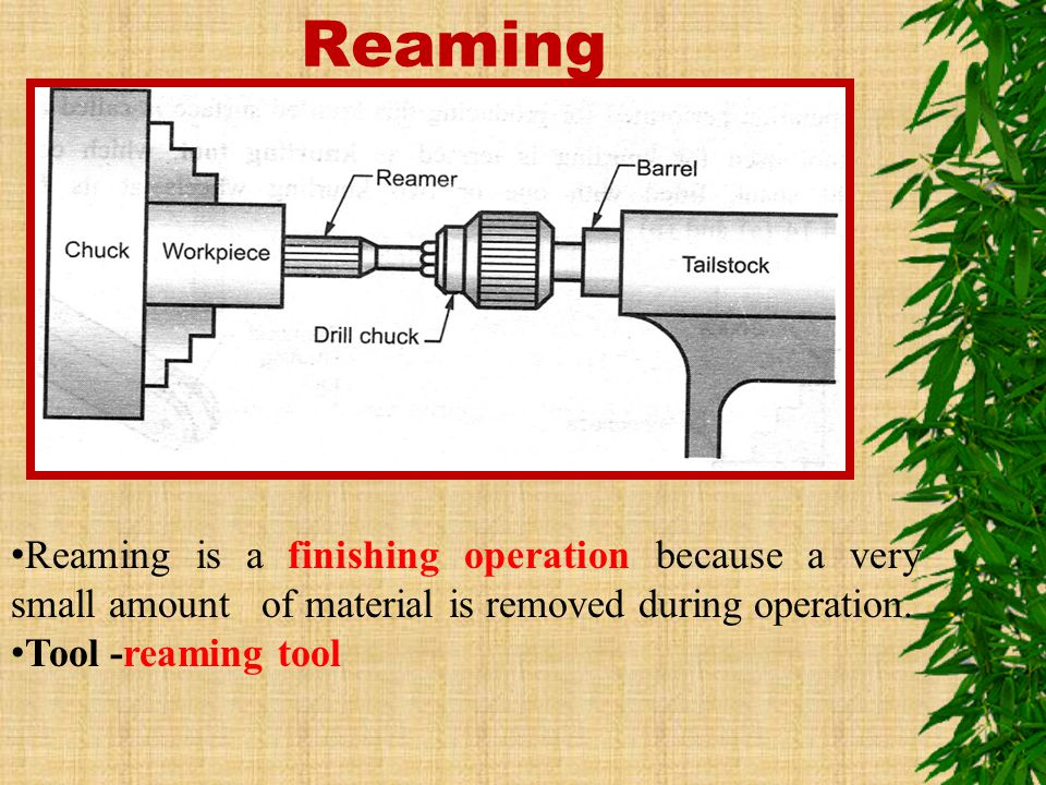 Reaming Reaming is a finishing operation because a very small amount of material is removed during operation.