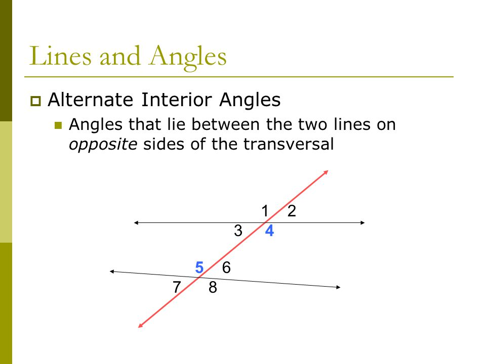 Alternate Interior Angles : Unit perpendicular and parallel lines ppt video