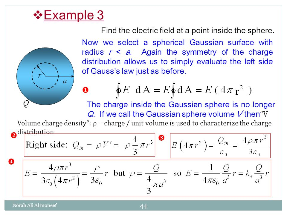 Chapter 24 electric flux 241 electric flux 242 gausss law ppt example 3 find the electric field at a point inside the sphere ccuart Image collections