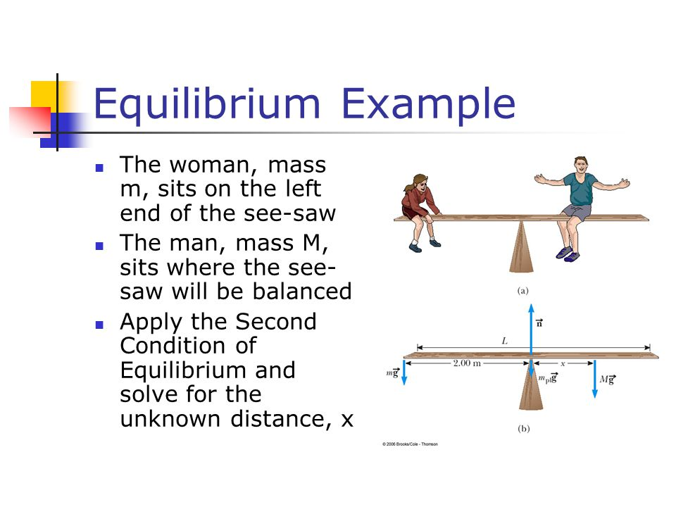 Equilibrium Example The woman, mass m, sits on the left end of the see-saw. The man, mass M, sits where the see-saw will be balanced.