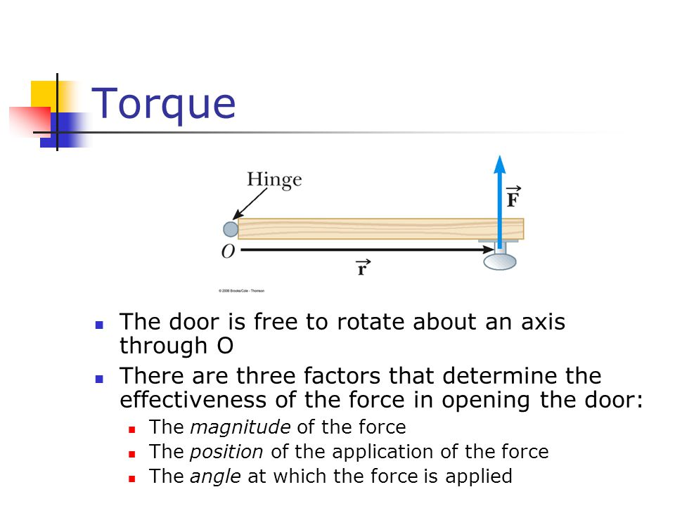 Torque The door is free to rotate about an axis through O