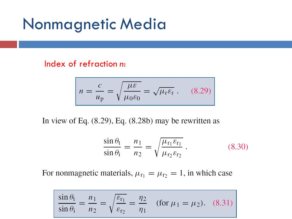 Nonmagnetic Media Index of refraction n: