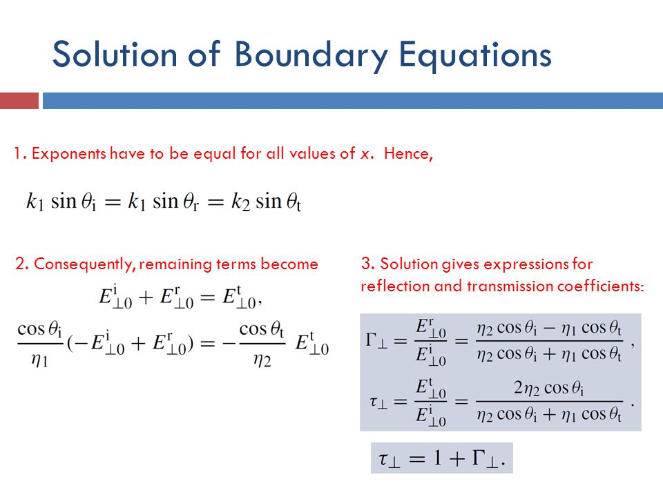 Solution of Boundary Equations
