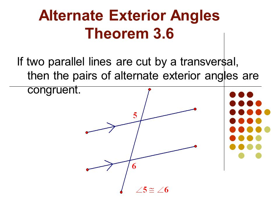 Parallel lines and transversals ppt download Alternate exterior angles conjecture