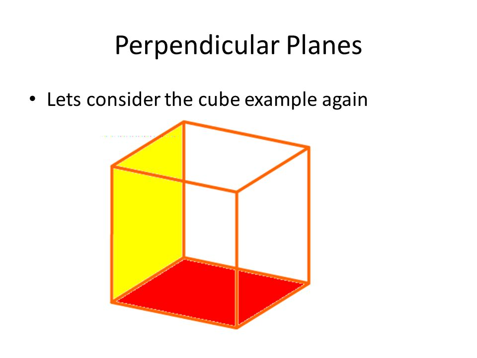 perpendicular planes. 9 perpendicular planes lets consider the cube example again a