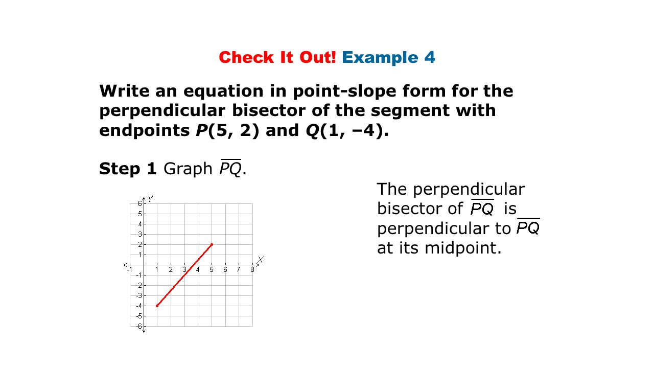 Equation in point slope form choice image form example ideas perpendicular  bisector and angle bisector ppt