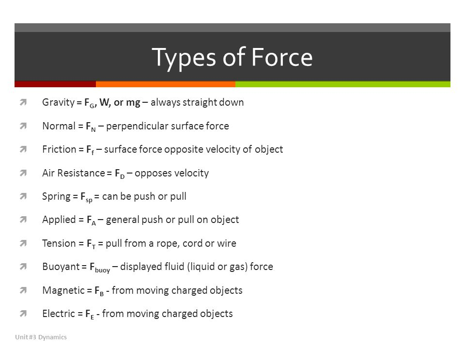 Types of Force Gravity = FG, W, or mg – always straight down