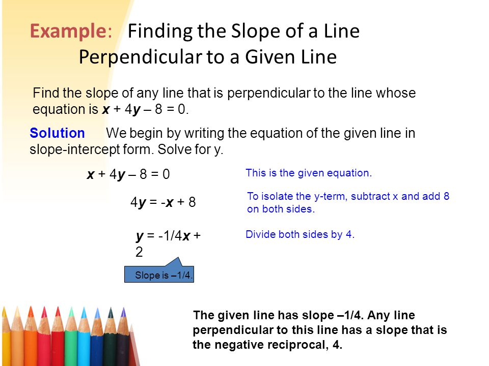 how to make a slope perpendicular