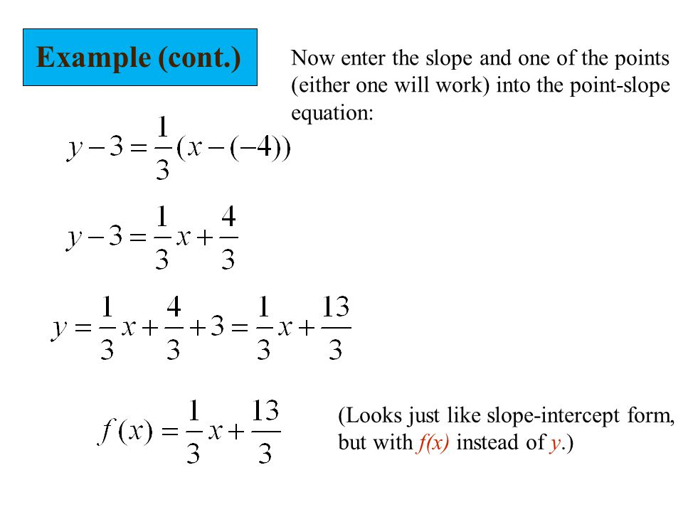 Example (cont.) Now enter the slope and one of the points