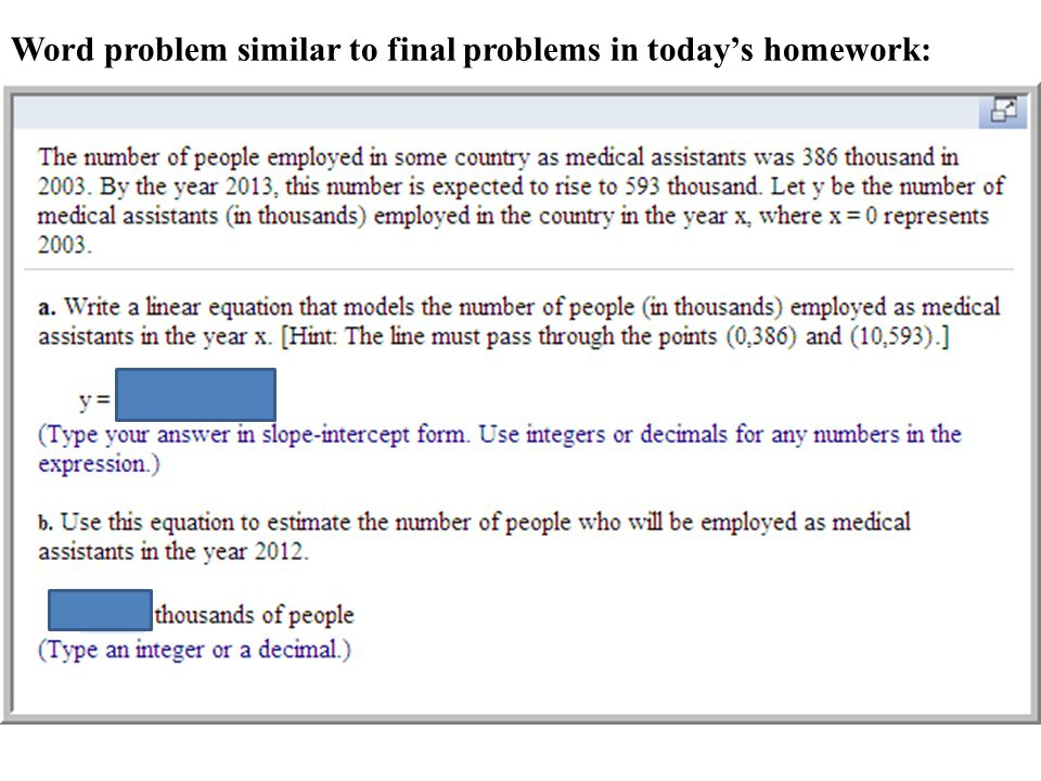 Word problem similar to final problems in today's homework: