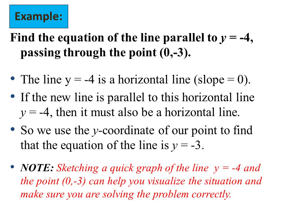 The line y = -4 is a horizontal line (slope = 0).