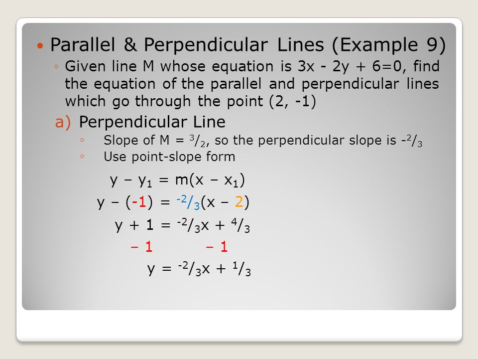 how to find a perpendicular line to an equation