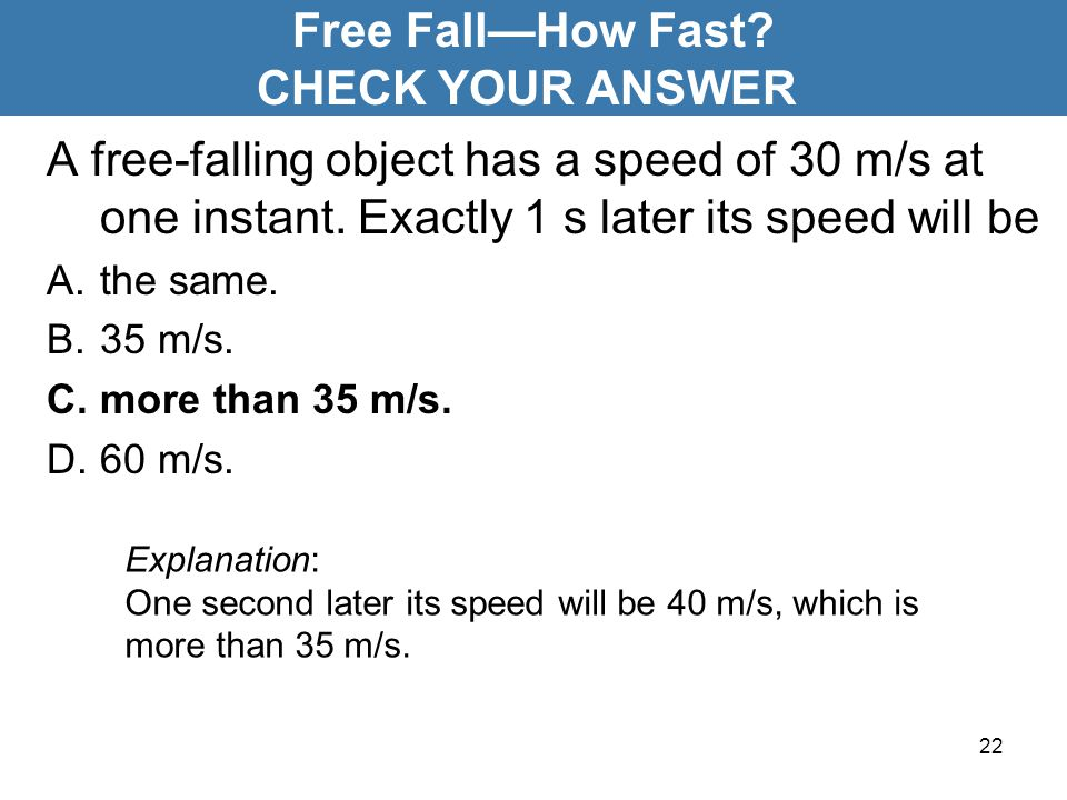 Free Fall—How Fast CHECK YOUR ANSWER